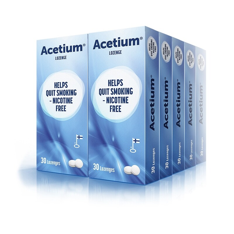 6-month supply of ACETIUM Lozenge for 20-a-day smoker. 124 x 30 lozenges.