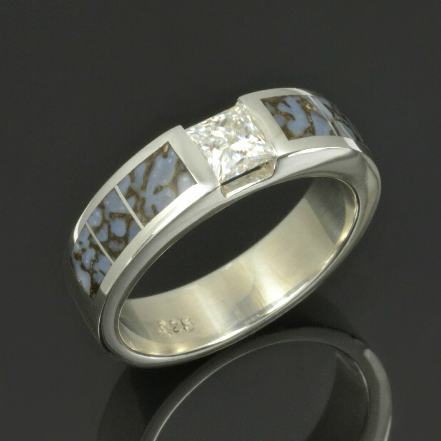 Moissanite and Dinosaur Bone Ring in Sterling Silver