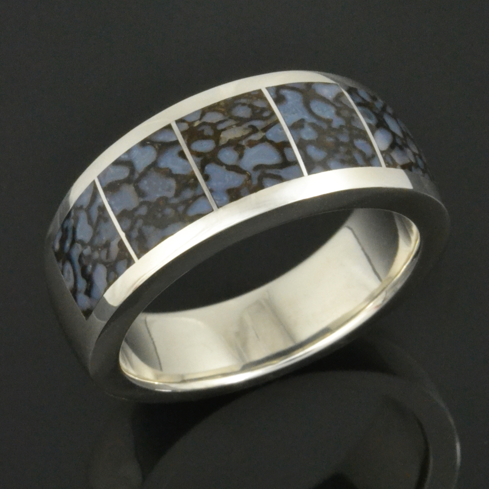 Blue Dinosaur Bone Wedding Ring in Sterling Silver by Hileman Silver Jewelry