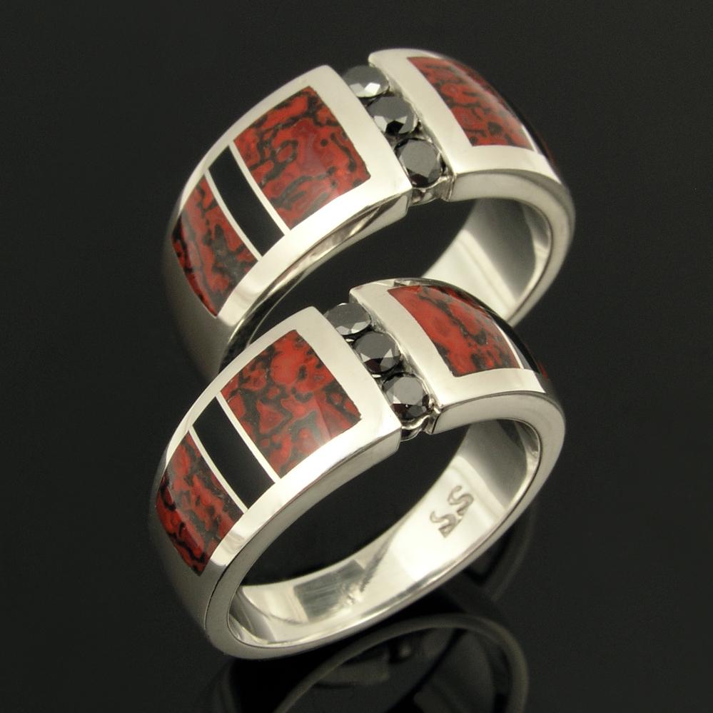 Dinosaur Bone Wedding Ring Set with Black Diamonds and Black Onyx Inlay