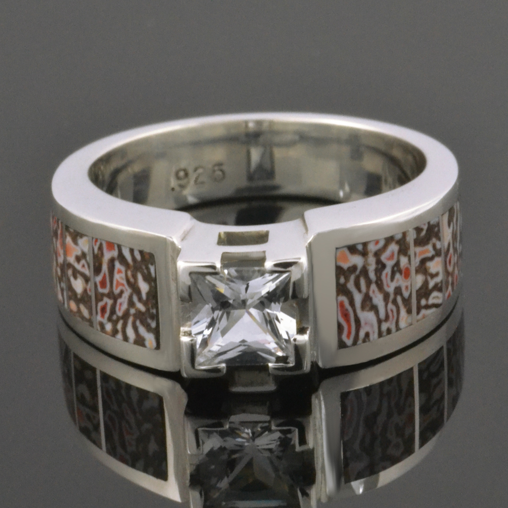 Dinosaur Bone Engagement Ring with White Sapphire Center Stone