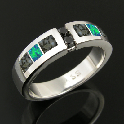 Dinosaur Bone Wedding Ring with Black Diamonds and Lab Created Opal