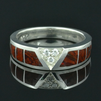 Dinosaur Bone Wedding Ring with White Sapphires
