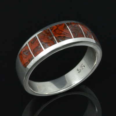 Red Dinosaur Bone Wedding Ring in Sterling Silver by Hileman Silver Jewelry