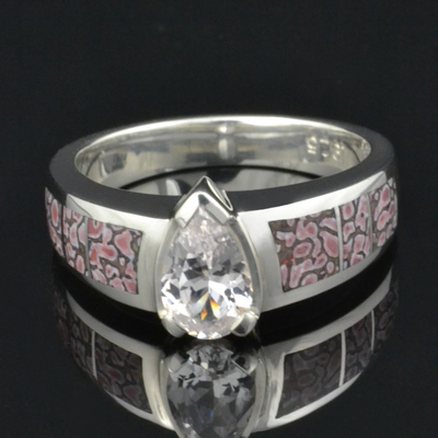 Dinosaur Bone Engagement Ring with White Sapphire