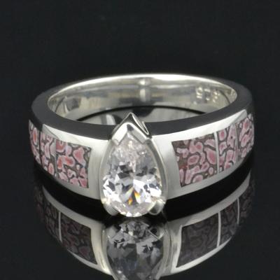 Dinosaur Bone Engagement Ring with White Sapphire