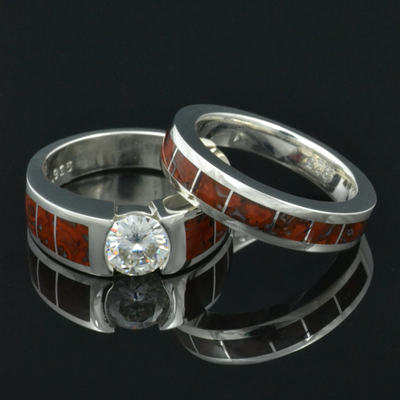 Dinosaur Bone Wedding Ring and Engagement Ring Set