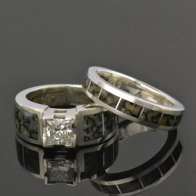Dinosaur Bone Engagement Ring and Wedding Ring Bridal Set