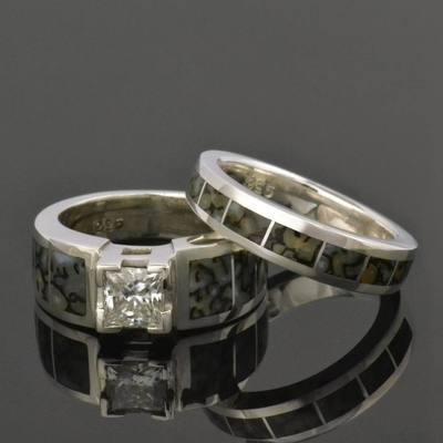 Dinosaur Bone Engagement Ring and Wedding Ring Bridal Set
