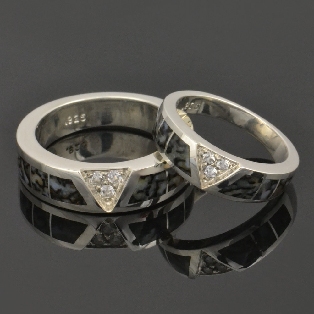 White Sapphire and Dinosaur Bone Wedding Ring Set
