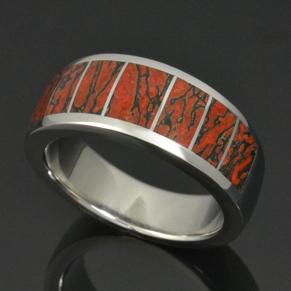 Men's Stainless Steel Dinosaur Bone Wedding Ring
