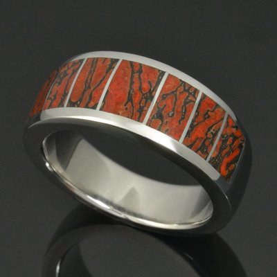 Men's Stainless Steel Dinosaur Bone Wedding Ring