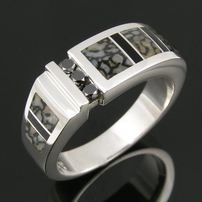 Gray Dinosaur Bone Ring with Black Diamonds