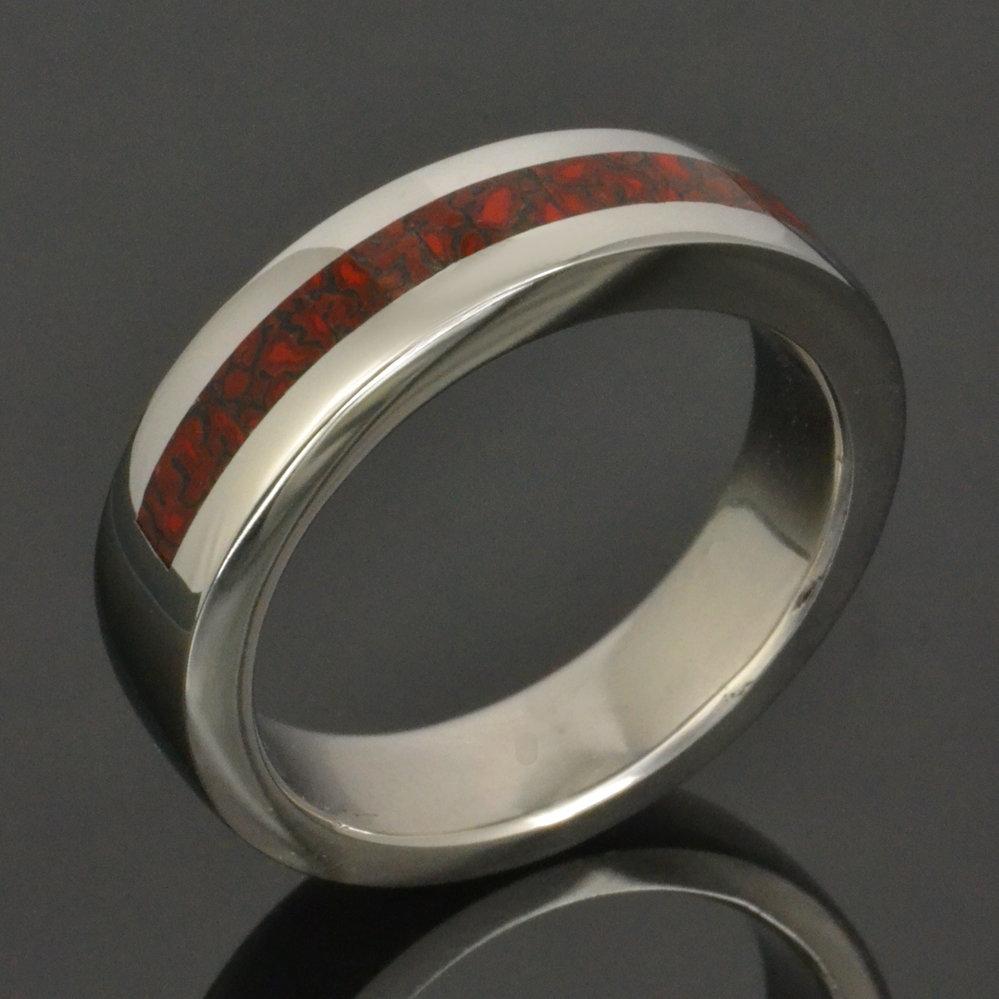 Men's Red Dinosaur Bone Wedding Ring