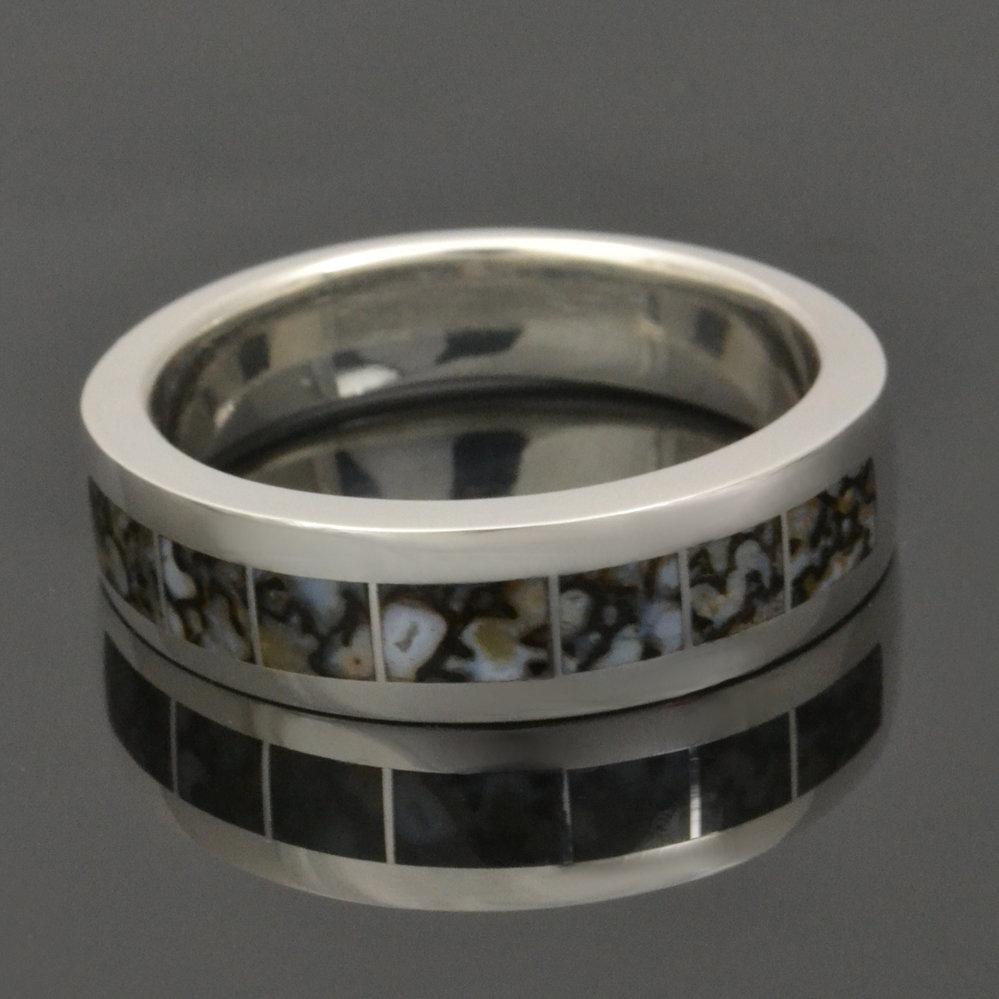 Gray Dinosaur Bone Wedding Ring in Sterling Silver