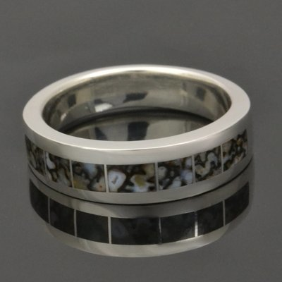 Gray Dinosaur Bone Wedding Ring in Sterling Silver