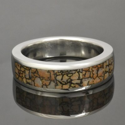 Tan Dinosaur Bone Wedding Ring