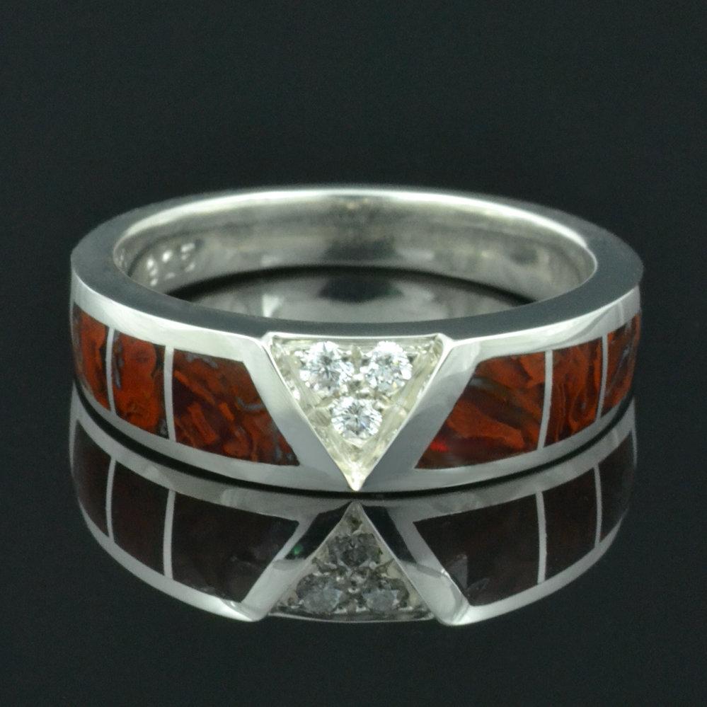 Dinosaur Bone Wedding Ring in Sterling Silver by Hileman Silver Jewelry