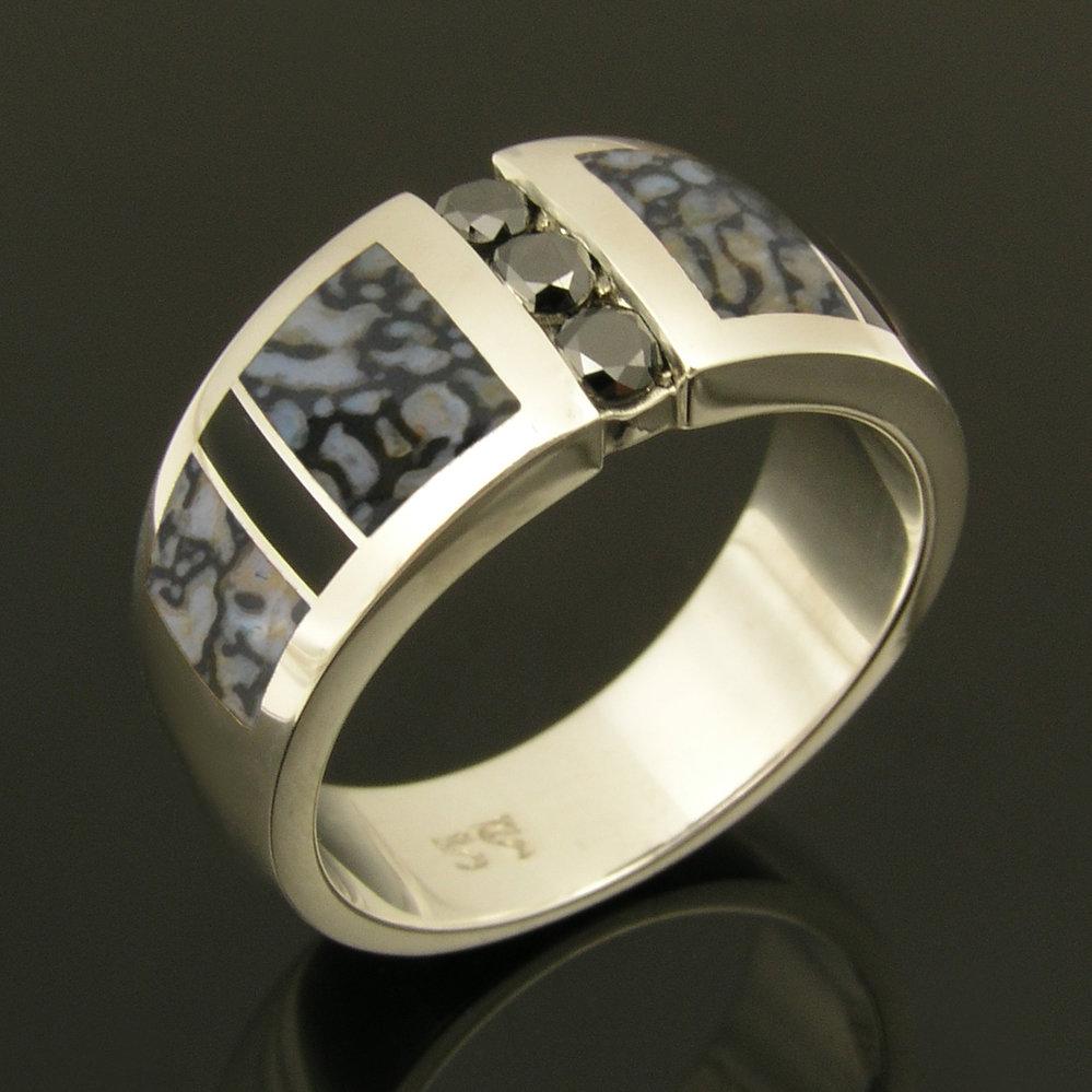 Gray Dinosaur Bone Ring with Black Diamonds