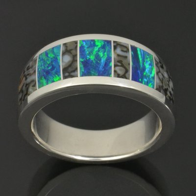 Gray Dinosaur Bone Wedding Ring with Lab Opal