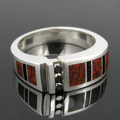 Red Dinosaur Bone Ring with Black Diamonds