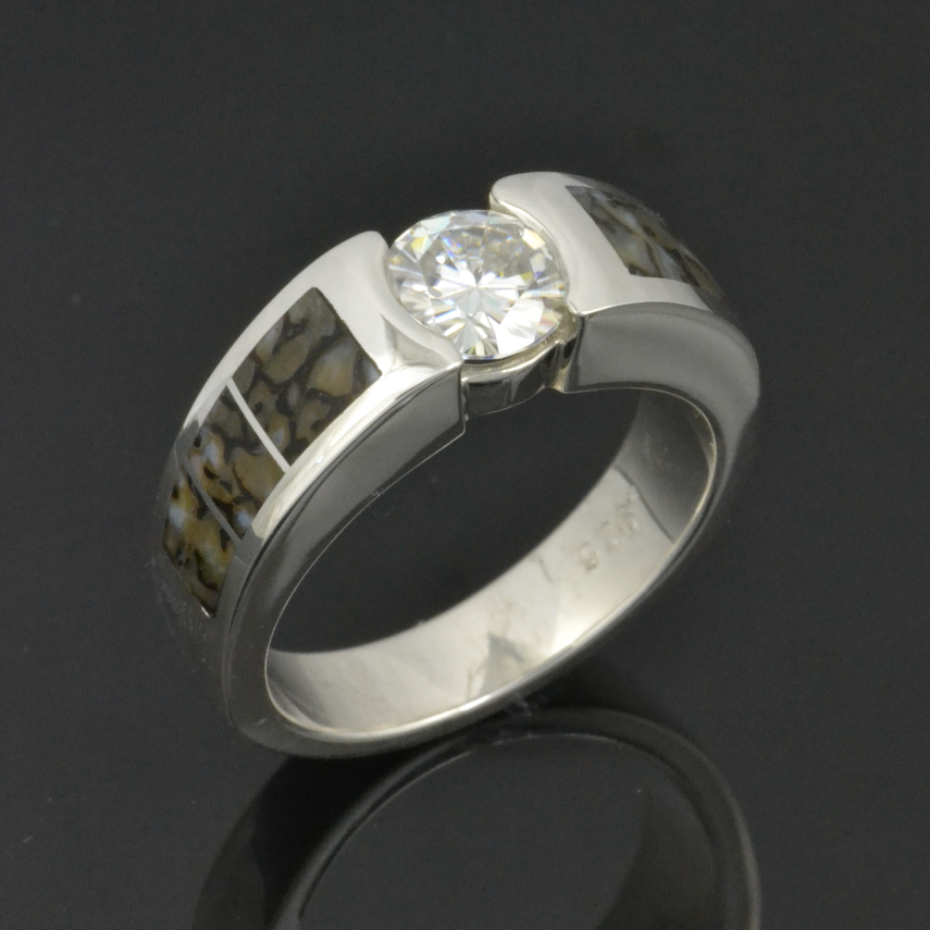 Gray Dinosaur Bone Engagement Ring with Moissanite