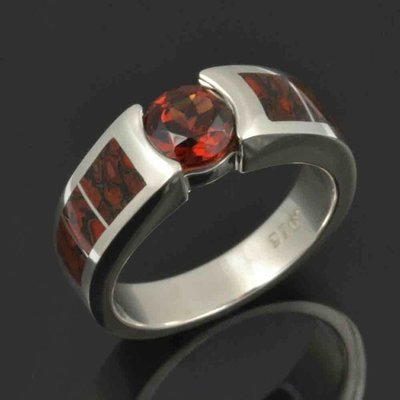 Dinosaur Bone Ring with Mozambique Garnet