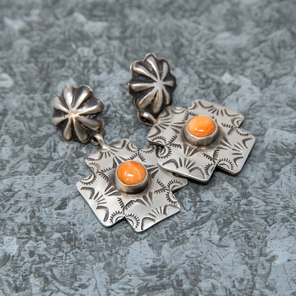 Spiny Oyster & Sterling Silver Earrings JE190027