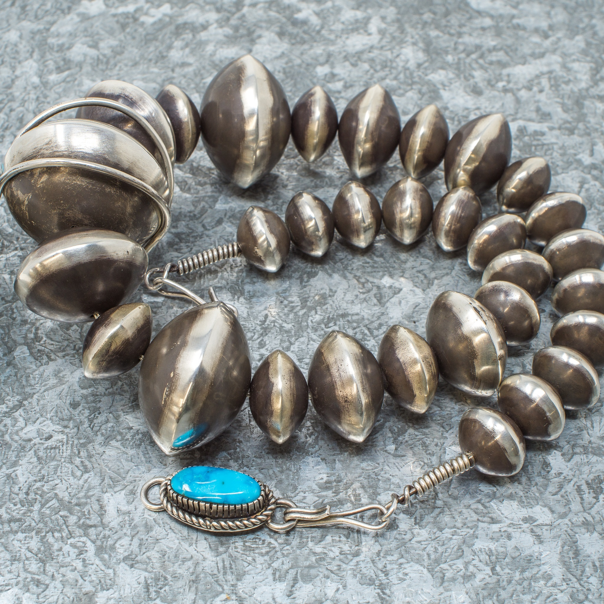 Navajo Pearls & Morenci Turquoise Pendant by Tommy Jackson