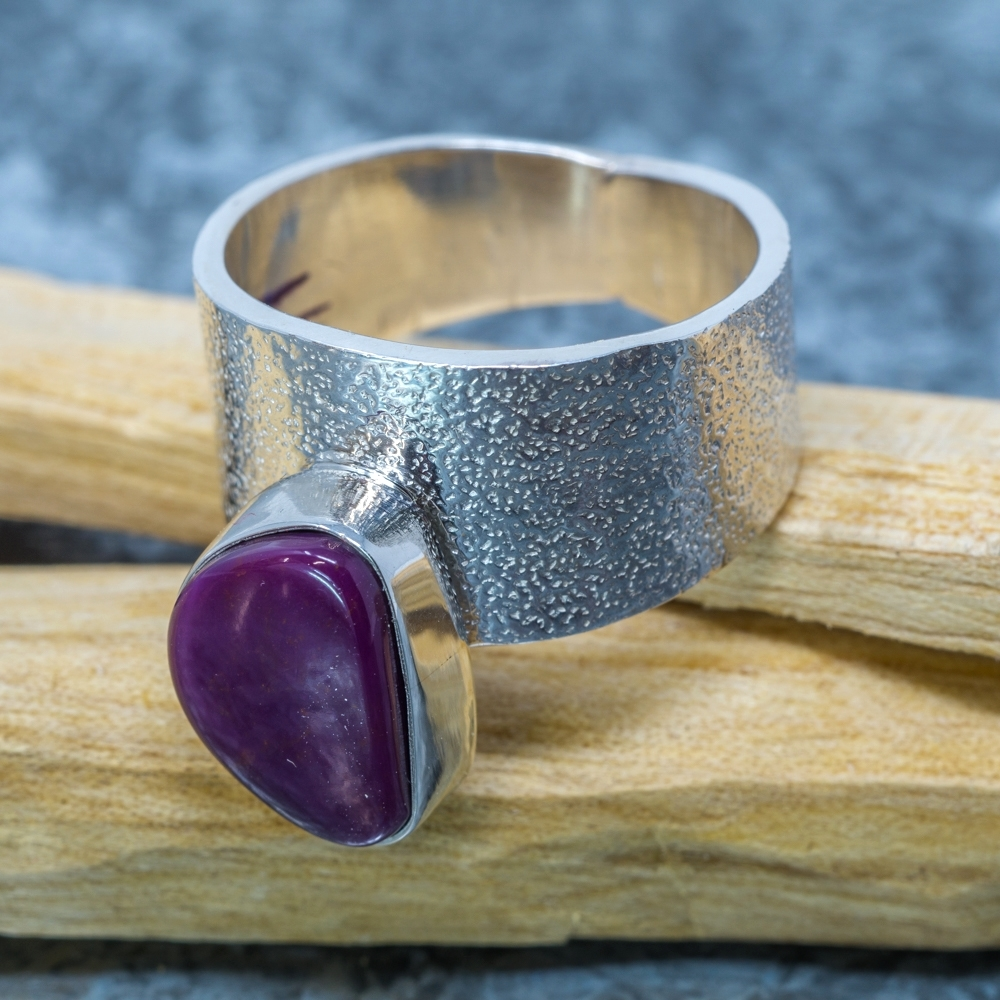 Sugilite and Sterling Ring by Marie Jackson - Side View