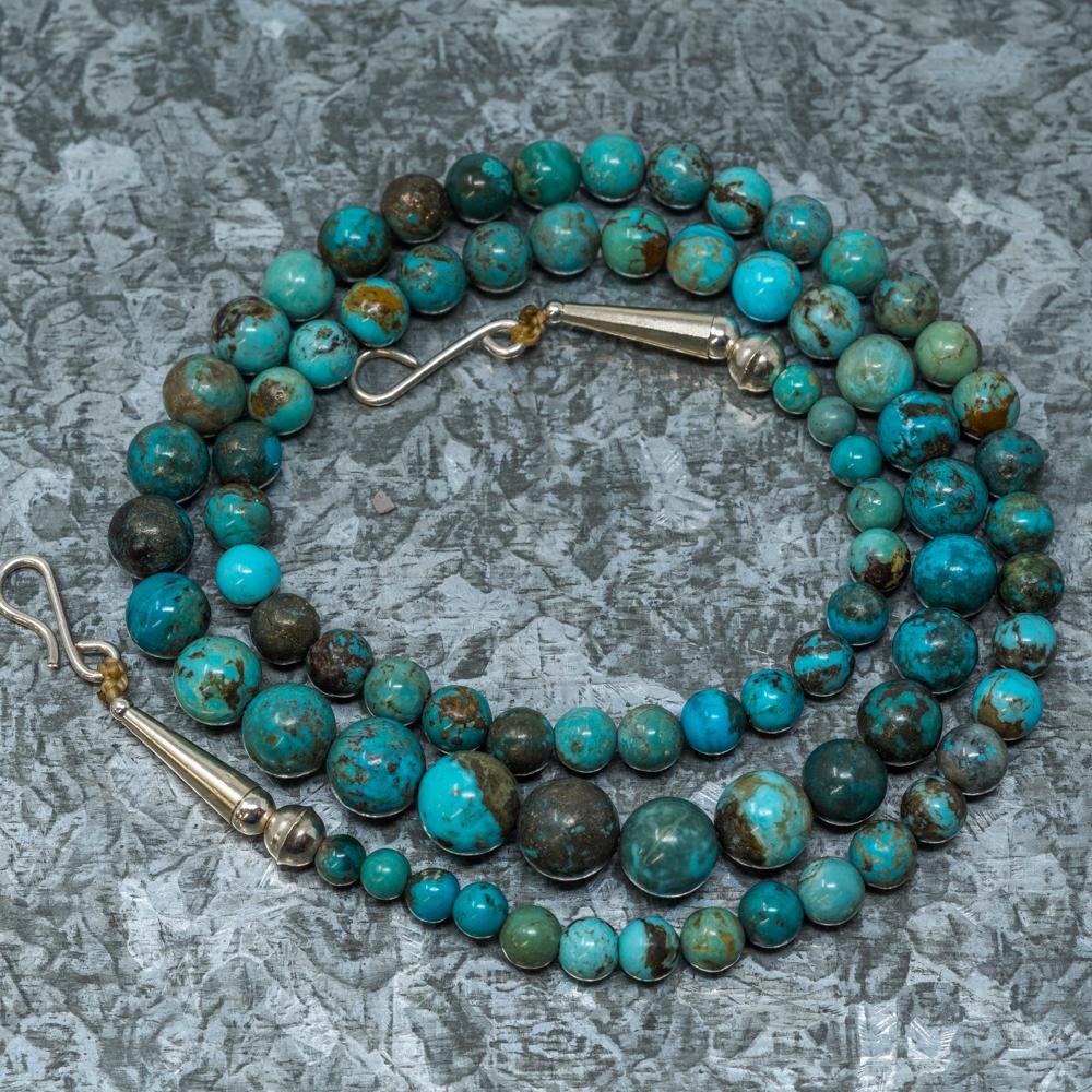 "Chrysocolla & Kingman Turquoise Necklace by Priscilla Nieto 21"" JE190034"