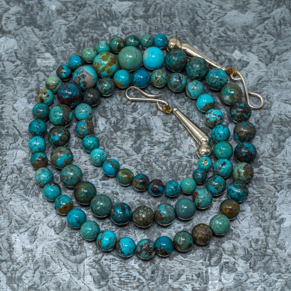 "Chrysocolla & Kingman Turquoise 21"" Necklace by Priscilla Nieto JE190036"
