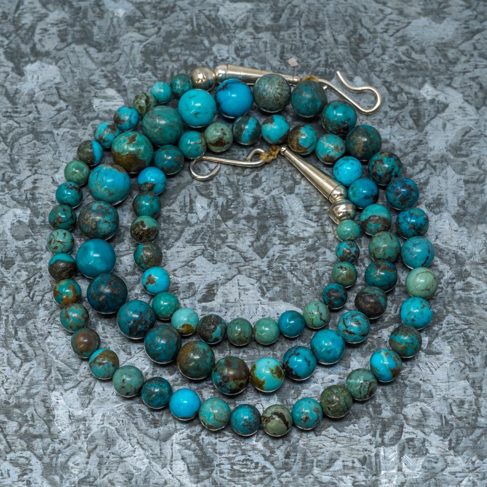"Priscilla Nieto Chrysocolla & Kingman Turquoise Necklace 21"" JE190037"