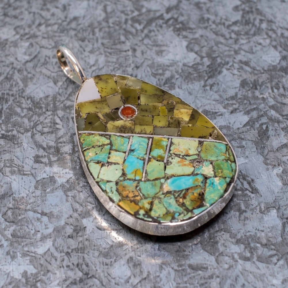 Mosaic Teardrop Inlaid Pendant by Mary Coriz JE190040