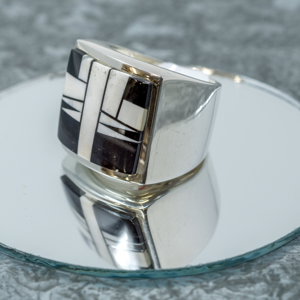 Jet & White Buffalo Sterling Ring JE190043