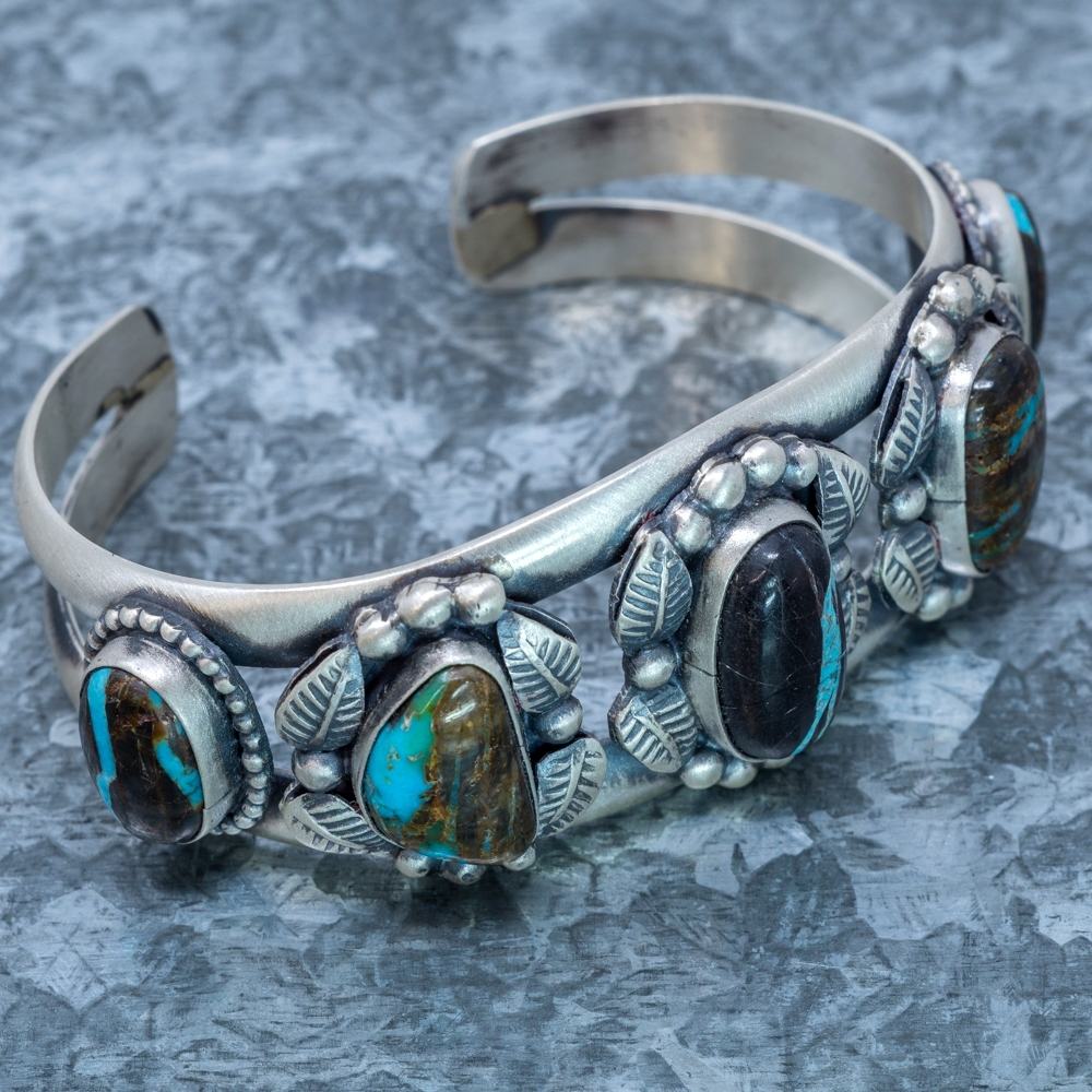 Blue Jay Turquoise Cuff Bracelet by Martha Willeto JE190058