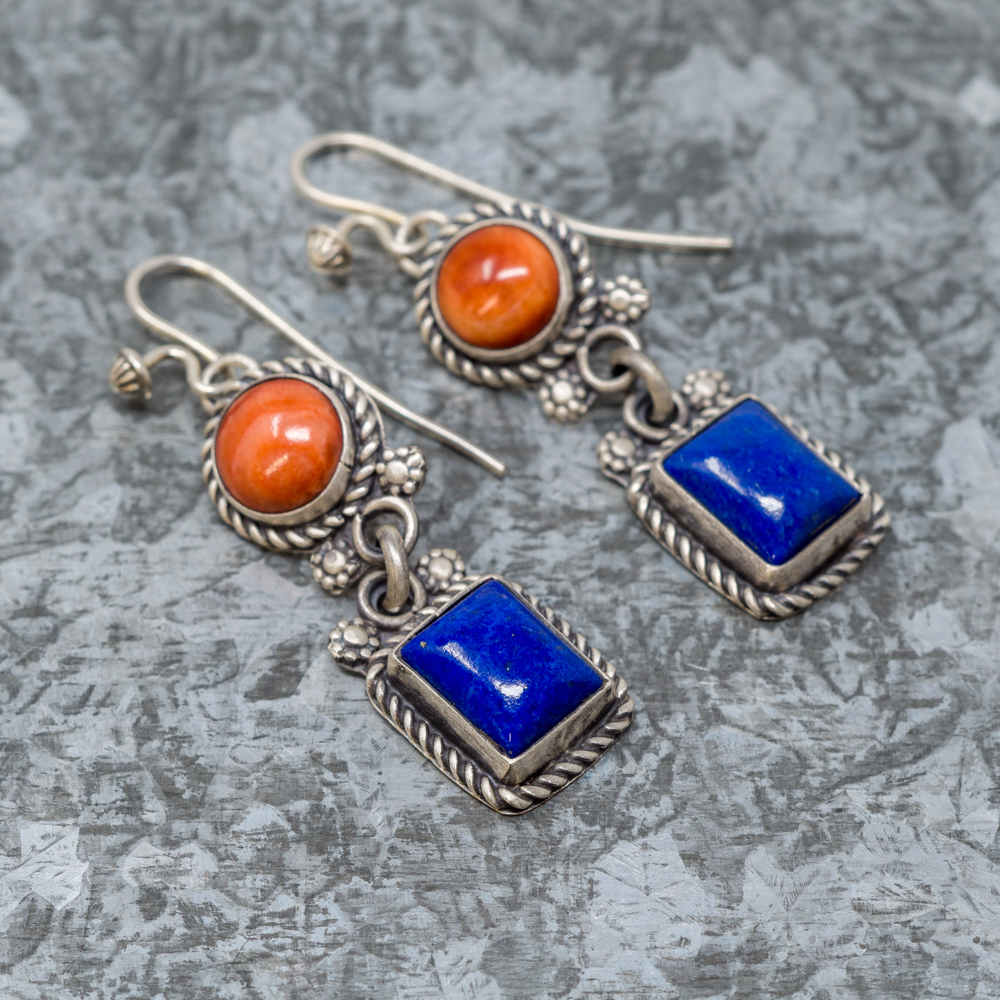 Lapis Lazuli & Spiny Oyster Sterling Silver Earrings by Martha Willeto JE190071