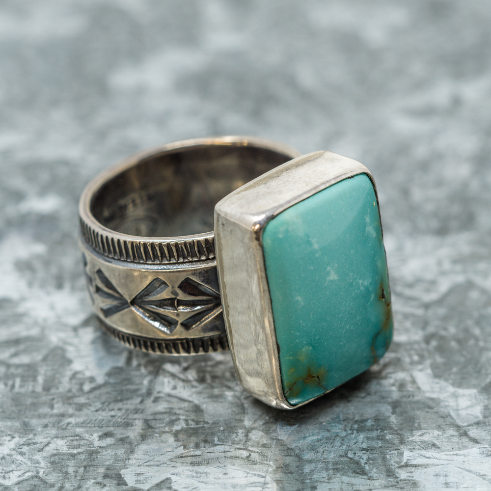 Nevada Green Turquoise Ring by Travis R. Teller JE190086