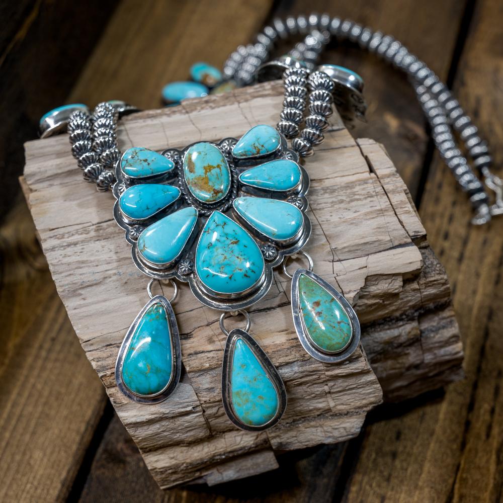 Kingman Turquoise Squash Blossom Necklace by EM Teller JE190103