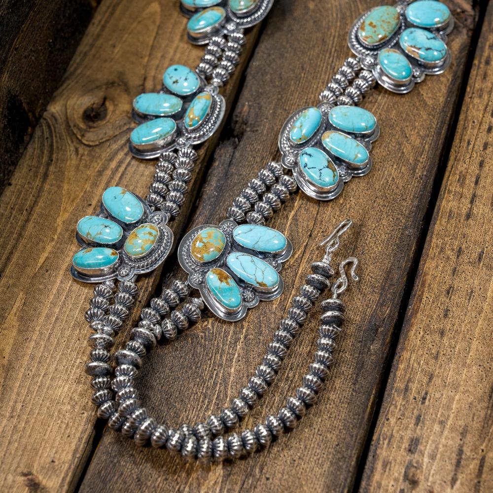 Kingman Turquoise Squash Blossom Necklace by EM Teller