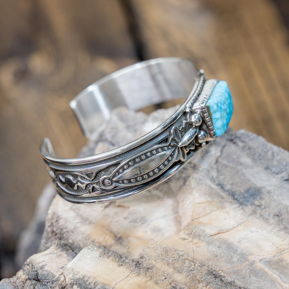 Kingman Turquoise Stamped Bracelet by Albert Jake