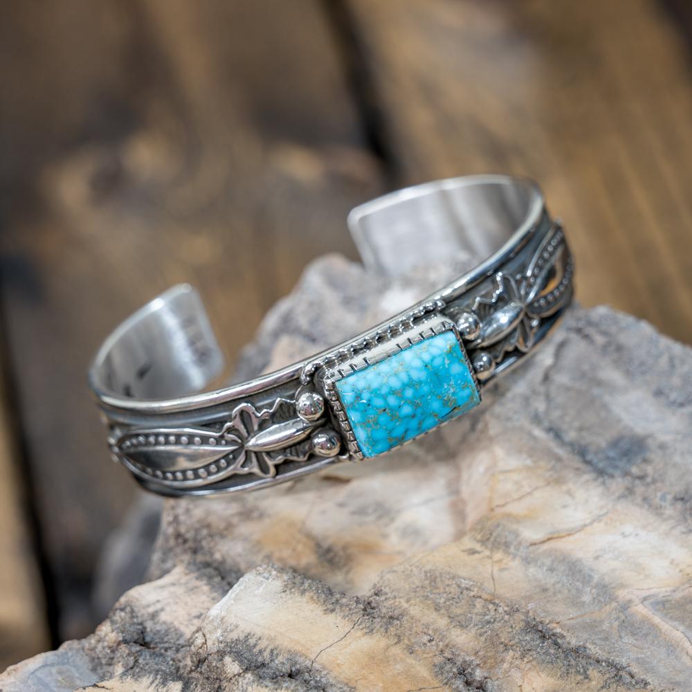 Kingman Turquoise Stamped Bracelet by Albert Jake JE190107