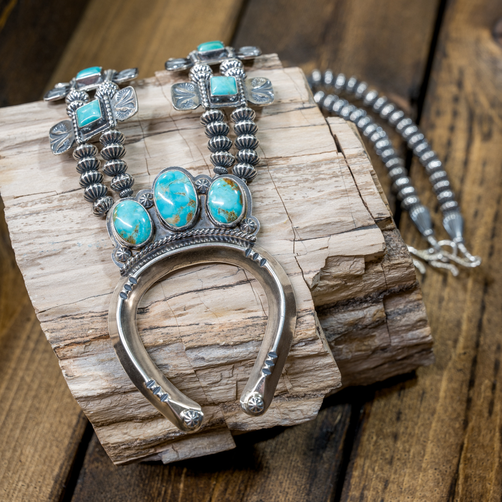 Sterling Silver Kingman Turquoise Squash Blossom by EM Teller JE190108