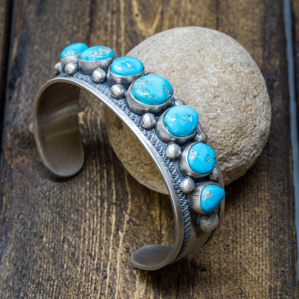 Sleeping Beauty Turquoise Bracelet by Jimmy Secatero SB200002