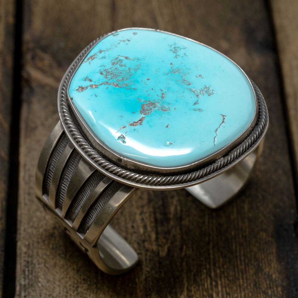 Natural Untreated Sleeping Beauty Turquoise Bracelet by Tommy Jackson SB200016