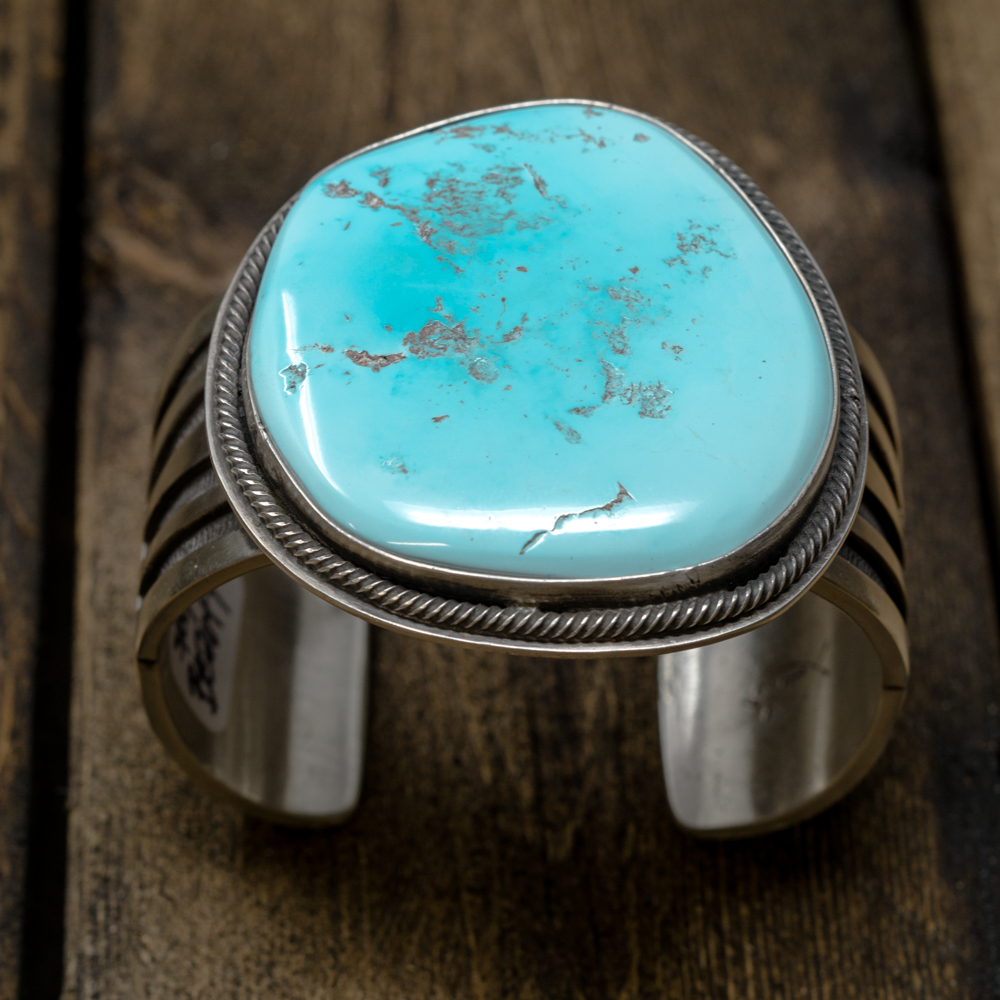 Natural Untreated Sleeping Beauty Turquoise Bracelet by Tommy Jackson