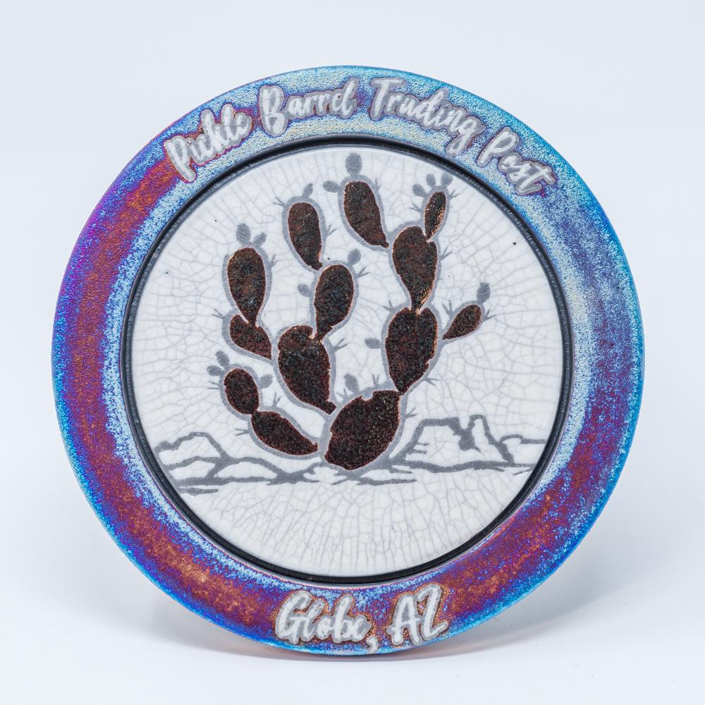 Raku Trivet with Prickly Pear Cactus/Blue SG200003
