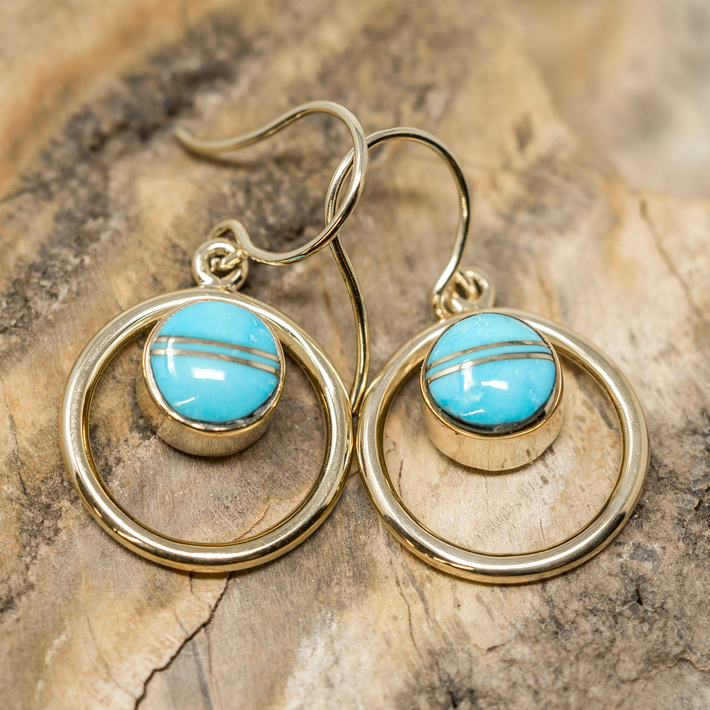 Sleeping Beauty Turquoise Earrings set in 14k Gold SB200018