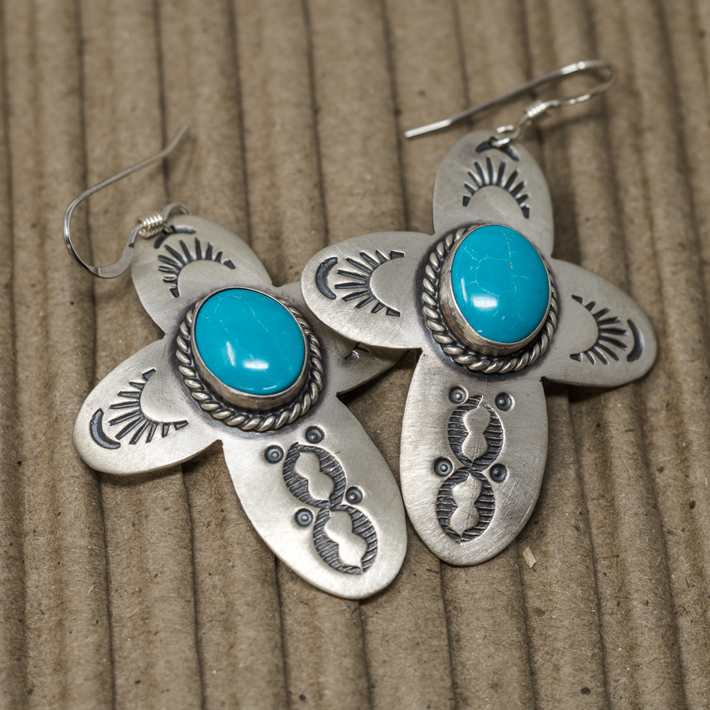 Stamped Sterling Silver & Turquoise Earrings JE200078