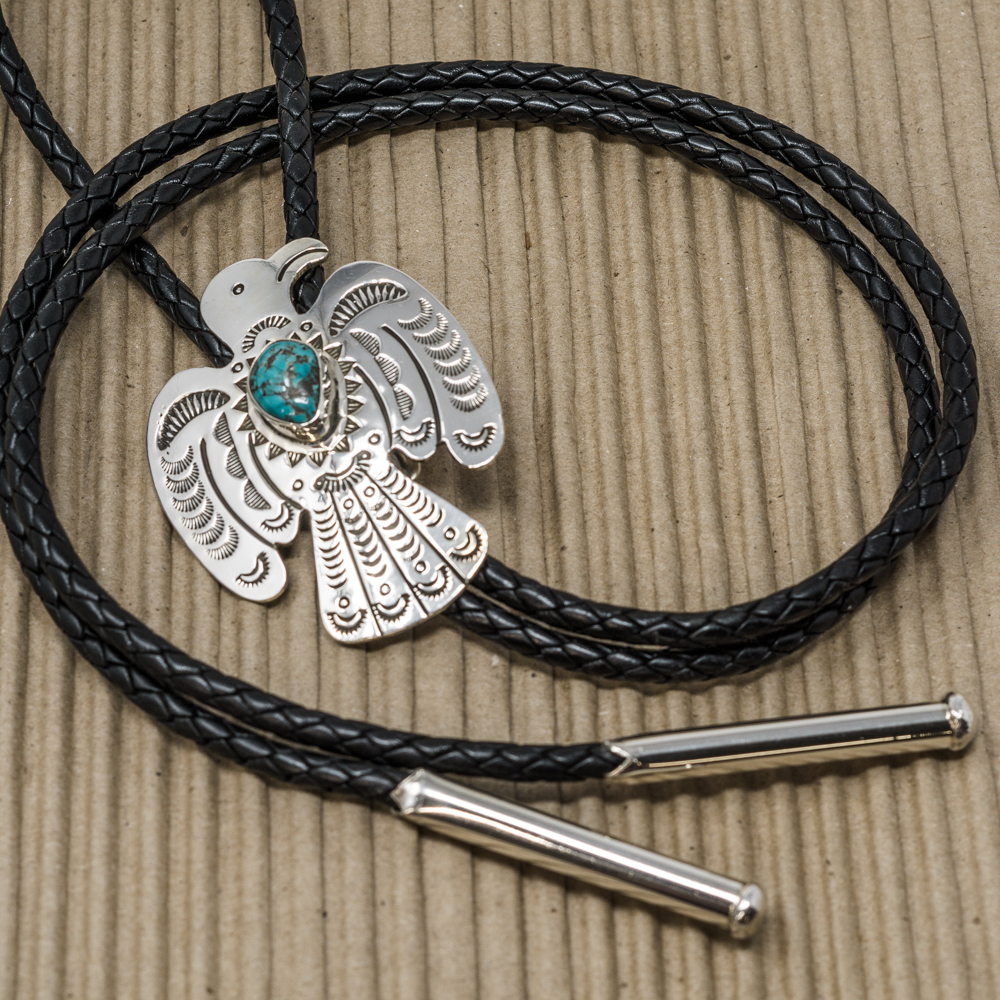 Sterling Silver Thunderbird Bolo with Turquoise JE200079